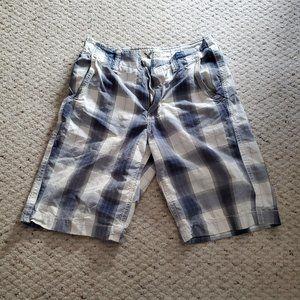 AE Men's Khaki Blue and White Checkered Shorts